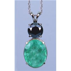 Alluring 11.25 carat Emerald and Black Diamond