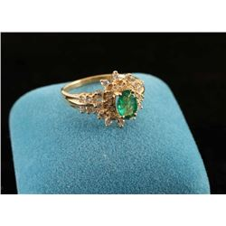 Classic oval emerald & diamond ring