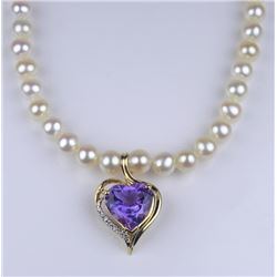 Beautiful Heart Shaped Amethyst and Diamond