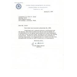 Letter From J Edgar Hoover