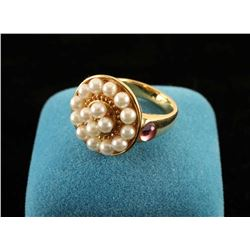 Ladies pearl and pink sapphire cabochon ring