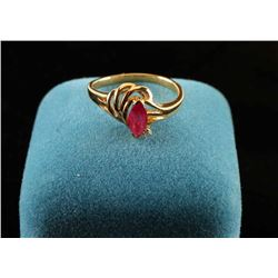 Marquee Cut Ruby and Diamond ring