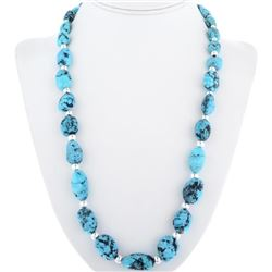 Natural Turquoise Nugget Silver Bead Necklace
