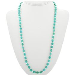 Sleeping Beauty Turquoise Silver Bead Necklace
