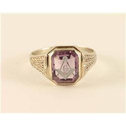 14 kt White Gold Masonic Ring