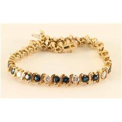 14Kt Blue Sapphire & Diamond Bracelet