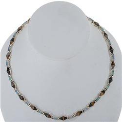 Navajo Inlaid Opal Sterling Silver Link Necklace