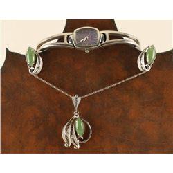 Sterling/Jadeite Necklace & Earrings Set & Watch