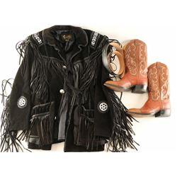 Leather Coat, Cowboy Boots & Belt