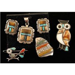Pendant & Earrings Set & Silver Pins Lot