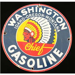 Montana Chief Gasoline Porcelain Advertising Sign