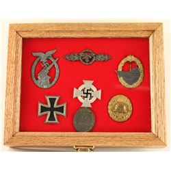 Cased German WWII Military Medal & Badge Group