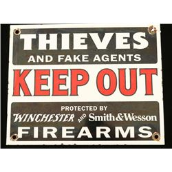 Winchester And Smith & Wesson Keep Out Sign