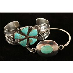 Lot Of 2 Silver & Turquoise Bracelets