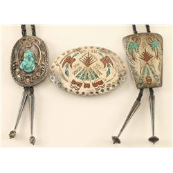 Lot of 2 bolo ties & 1 buckle
