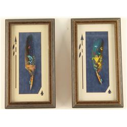 Lot of 2 Framed Oil Painted Feathers