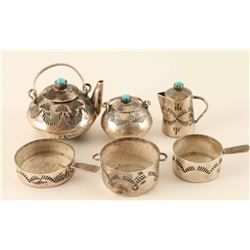 Miniature Sterling & Turquoise Kitchenware Set