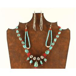 Turquoise, Coral & Silver Necklace & Earrings Lot