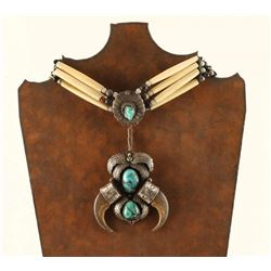 Bear Claw Turquoise Sterling Silver Necklace