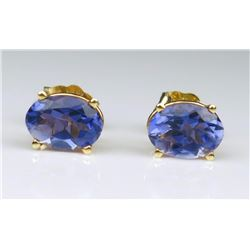 Intensely Vibrant Tanzanite Stud Earrings