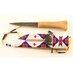 Sioux Beaded Knife Sheath & Knife