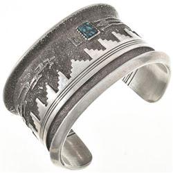 Vintage Navajo Spiderweb Turquoise Silver Cuff