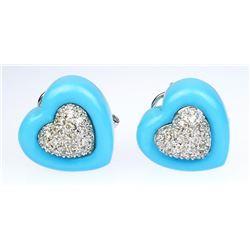 Striking Heart Shaped Turquoise and Diamond
