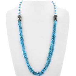 Navajo Spiderweb Turquoise Nugget Silver Necklace