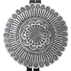 Navajo Hammered Silver Concho Bolo Tie