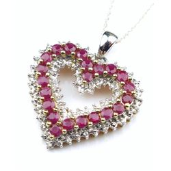 Romantic Ruby and Diamond Pendant