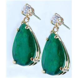 Glamorous 16.79 carat Emerald & Diamond Earrings
