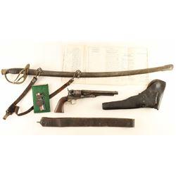 Civil War Set w/ Inscribed 1860 Army Colt