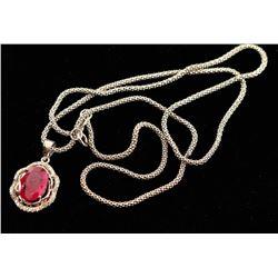 Oval Burmese Rub & Diamond Pendant