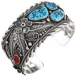 Navajo Turquoise Coral Sterling Silver Cuff