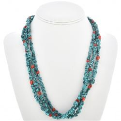 Turquoise Nugget Coral Navajo Necklace