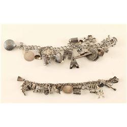 Lot of 2 Silver Charm Bracelets