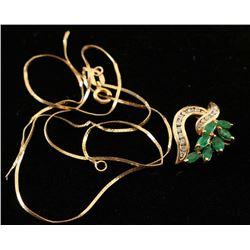 14K Gold Diamond & Emerald Necklace