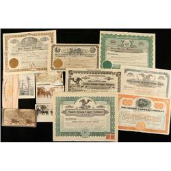 Lot of Antique Photos & Mining Stock Certificates