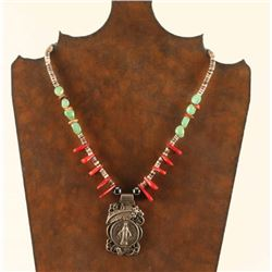 Sterling Silver Pendant on Beaded Necklace