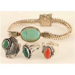 Sterling Silver Bracelet & Rings Lot