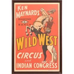 Ken Maynard Wild West & Indian Congress Poster