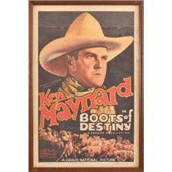 """Original Ken Maynard """"Boots Of Destiny"""" Poster"""
