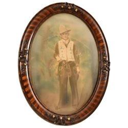 Antique Bubble Frame Cowboy Photo