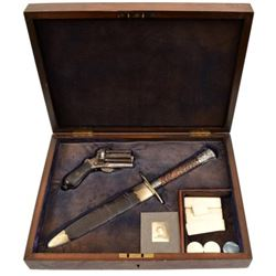 French Pinfire Revolver & Dagger Cased Set