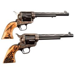 Pair of Colt Model 1873 SAA .45 Silver Snake Inlay