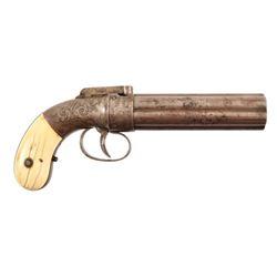 Engraved Allen Pepperbox Revolver Ivory Grips