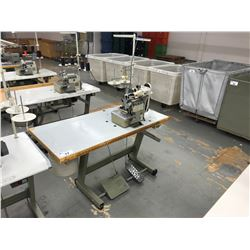 PEGASUS LX5214-M53 SINGLE NEEDLE, 4 THREAD SURGER WITH R-RACING MDK-61 ELASTIC BAND METERING DEVICE