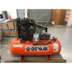 DEVAIR MODEL TAP 5052 200PSI, 80 GALLON COMMERCIAL HORIZONTAL AIR COMPRESSOR