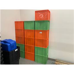 16 ORANGE & GREEN PLASTIC PRODUCT BINS
