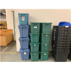12 ASSORTED GREEN & BLUE STORAGE TOTES WITH LIDS